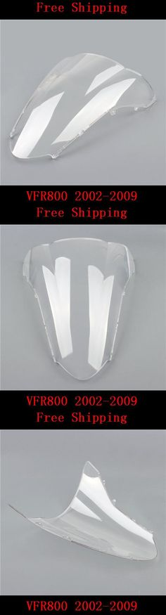 [Visit to Buy] For Honda VFR800 2002-2009 VFR 800 motorcycle Double bubble windshield windscreen white #Advertisement