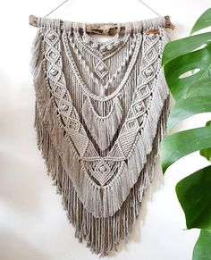 """MEET THE LOVELY; WARRIOR ⦿ DETAILS: This wonderful wall hanging is called WARRIOR"""" She's made from natural driftwood and warm grey cotton string (5 mm). The pattern is completely freehanded and created during the process of knotting, and therefore it's a very unique and original"""
