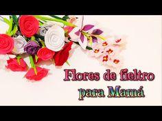 Ideas para regalar el día de la madre, ramo de flores de fieltro, rosa, ...