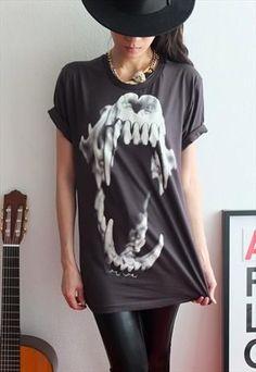 Hand Made Short Sleeved T-shirt - Sabertooth TIGER Skull Animal Punk Rock Print T-Shirt