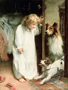 """The Morning Greeting"" - by Arthur John Esley, (1860-1952, English)"