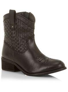 Evans Black Leather Weave Cowboy Boots - www.evans.co.uk
