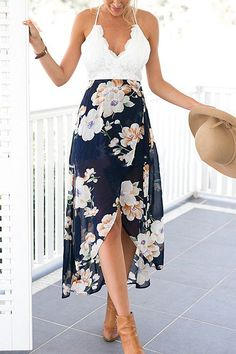 Pinkly smiling in white spaghetti-strap top w/ scalloped neckline, Navy Wrap Front Floral Print Maxi Dress, nude booties & sunhat