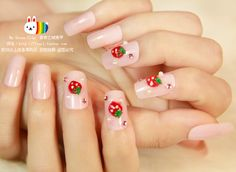 strawberry+acrylic+nails | Cream powder strawberry acrylic Nails/False Nails/Fake Nail/Nail ...