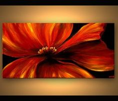 Abstract art poster on photographic paper. Title: Red Poppy. Size: 48x24. Type: Poster on acid-free high-quality photographic paper. Shipping: