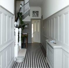 checkered floors with this wall color ..how about houndstooth!