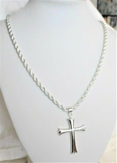 """Mens 2"""" cross 4mm diamond cut rope 24"""" chain necklace 925 sterling silver #Unbranded #DiamondCutRope Cross Jewelry, Men's Jewelry, Jewellery, Chains For Men, Gold Chains, Hip Hop Chains, Cross Chain, Affordable Jewelry, Cross Pendant"""