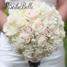 2017 Luxurious Bridal Wedding Bouquet Handmade Holding Flowers Artifical Rose Bride Buque De Perolas Custom Made