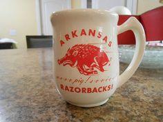 Vintage University of Arkansas Razorbacks Mug Retro Wooo Pig Sooiee NCAA Rarer   eBay