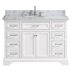 Home Decorators Collection Windlowe 49 in. W x 22 in. D x 35 in. H Bath Vanity in Green with Carrera Marble Vanity Top in White with White Sink - The Home Depot White Vanity Bathroom, Bathroom Vanity Cabinets, Vanity Sink, Bath Vanities, Small Bathroom, Master Bathroom, Bathroom Ideas, Bathroom Colors, Bathroom Organization