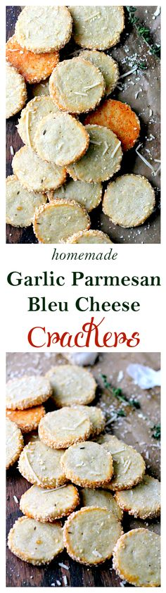 Garlic Parmesan Blue Cheese Crackers   www.diethood.com   Irresistible homemade cheese crackers rolled in crunchy sesame seeds. These homemade crackers are better than any store-bought crackers out there!