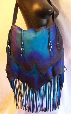 "Designer Leather Purse ""MIDNIGHT BLUE"" Fringe Handbag Artisan Hippie Retro Beaded Bag Handmade"