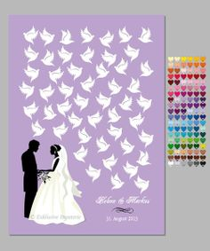 """Alternative zum Gästebuch """"Brautpaar mit Tauben"""" von Exklusive Papeterie auf DaWanda.com"""