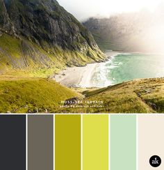 a mossy-coast-inspired color palette // slate gray, moss green, chartreuse, seaglass, sand -- I like the slate gray and the seaglass colors. Colour Schemes, Color Combos, Colour Palettes, Free High Resolution Photos, Hidden Beach, 3d Photo, Beaches In The World, Color Pallets, Nature Photos