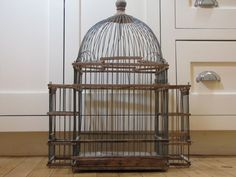 Antique Victorian Wood and Wire Bird Cage, Tunisian Style Bird Cage, Bird Cage, Victorian Bird Cage, Metal, Antique, Tunisian, Pagoda, Dome