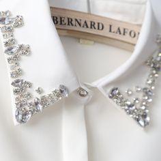 beading long sleeve shirt rhinestone collar diamond ol basic white chiffon