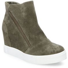 Steve Madden Lazaruss Suede Wedge Sneakers ($50) ❤ liked on Polyvore featuring shoes, sneakers, olive, hi top wedge sneakers, platform wedge sneakers, high top slip on sneakers, platform sneakers and high-top sneakers
