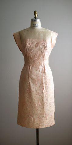1950s 60s blush cut out lace dress