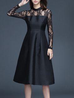 Shop Midi Dresses - Black Polyester Crew Neck A-line Long Sleeve Midi Dress online. Discover unique designers fashion at StyleWe.com.