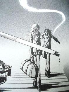 Ai Yazawa manga panel--bitch has that composition thing down pat.