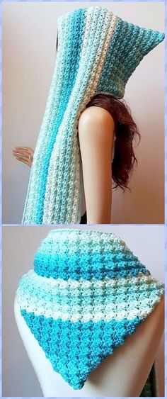 Crochet Faerie Mist Hooded Scarf Free Pattern - Crochet Hoodie Scarf Free Patterns by maryann maltby Crochet Hooded Scarf, Crochet Hoodie, Crochet Beanie, Crochet Scarves, Crochet Shawl, Crochet Clothes, Knit Crochet, Hooded Cowl, Hooded Scarf Pattern