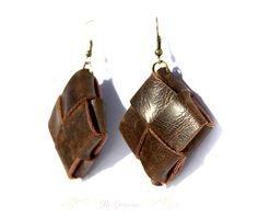 Leather Earrings. Rustic jewelry.