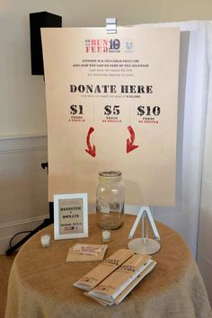 Donate Table at RUN 10 FEED 10 kickoff party in the Hamptons | Women's Health Magazine