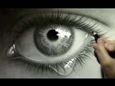 Realistic Eye with Teardrop: Drawing Time Lapse. Mark Crilley series on YouTube