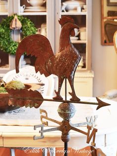 Antique Rooster Weather Vane Country French by edithandevelyn