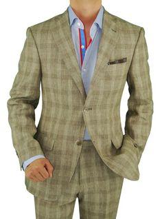 Bianco B Men's Two Button Modern Fit Side-Vent Linen Suit Taupe Windowpane #MensSuit #MensFashion #MensTrend #MenStyle #StreetStyle #MensSuitHabit