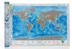 Carte du monde à gratter A1