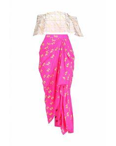 Pink Draped Skirt with Gold Moor Off-Shoulder Top Anarkali, Lehenga, Mehndi Party, Draped Skirt, Off Shoulder Tops, Indian Sarees, Indian Outfits, Indian Fashion, Mini Skirts