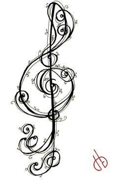 32 New Ideas music tattoo rose deviantart Music Tattoo Designs, Music Tattoos, New Tattoos, Cool Tattoos, Tatoos, Zentangle, Treble Clef Tattoo, Music Doodle, Filigree Tattoo