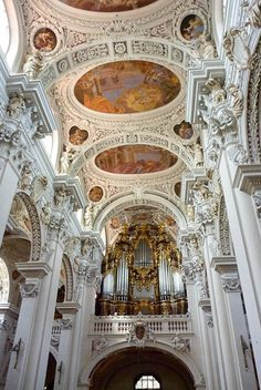 St. Stephan's Cathedral is from 1688 in Passau, Germany. The Cathedral has acquired the largest cathedral organ in the world.