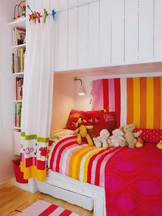 built in bed - love all the colour and the curtain