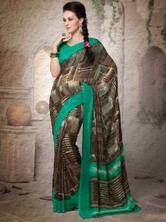 Brown Georgette Saree With Print Work www.saree.com