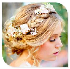 Bridesmaids hair they can choose make up but they should have this hair with the colour purple flowers in their hair