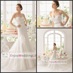 Wholesale Wedding Dresses - Buy Elegant Lace Mermaid Wedding Dresses Sexy New Sweetheart 2015 Applique Beaded Court Train Bridal Gowns 8C153, $160.88 | DHgate