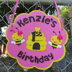 Hot Pink and Yellow Personalized Girl Bumble by MonkeyLimeStudios, $16.00