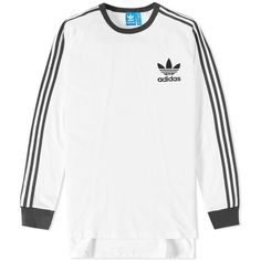 Adidas Adicolor Long Sleeve Fashion Tee ($38) ❤ liked on Polyvore featuring men's fashion, men's clothing, men's shirts, men's t-shirts, j crew mens shirts, mens striped long sleeve t shirt, mens cotton t shirts, adidas mens shirts and mens striped shirt