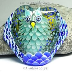 "Anastasia Lampwork Bead 1 Focal ""Frosty The Nightowl"" SRA 