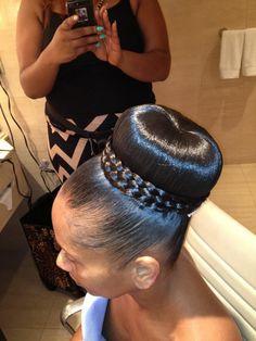 African American. Black Bride. Wedding Hair. Natural Hairstyles. braid wrapped bun