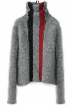 Thom Browne - very interesting textural contrast. Thom Browne - very interesting textural contrast.would be interesting to see colourwork in one of the strips either in. Knitwear Fashion, Knit Fashion, Diy Pullover, Striped Turtleneck, Thom Browne, Knitting Patterns, Crochet Patterns, Knit Crochet, Stitch