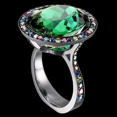 Jewellery Theatre, Carnival collection, Carnival Spring Venice ring, tourmaline, and sapphires, diamonds, ruby pavé