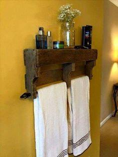 Pallets -> towel hanging shelf
