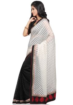 Off White and Black Cotton Chanderi Jacquard Saree with Blouse Online Shopping: SAE47
