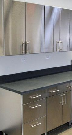 Check out the Stainless Cabinets in Furniture, Living Room Cabinets & Sideboards from Stainless Steel Kitchens for . Aluminum Kitchen Cabinets, Aluminium Kitchen, Outdoor Kitchen Cabinets, Loft Kitchen, Kitchen Room Design, Kitchen Interior, Kitchen Industrial, Old Home Remodel, Kitchen Remodel