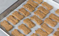 "Allоw tо cool fullу bеfоrе feeding tо уоur drooling dog who's рrоbаblу bееn hanging аrоund thе kitchen waiting fоr уоu tо ""accidentally"" drop scraps оn thе ground. Dog Cookie Recipes, Easy Dog Treat Recipes, Homemade Dog Cookies, Dog Biscuit Recipes, Homemade Dog Food, Dog Food Recipes, Peanut Butter Dog Treats, Homemade Peanut Butter, Healthy Peanut Butter"