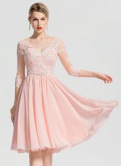 JJsHouse A-Line V-neck Knee-Length Beading Zipper Up Sleeves Sleeves No Pearl Pink Winter Spring Summer Fall General Plus Chiffon Cocktail Dress. Vestidos Fashion, Vestidos Sexy, Fashion Dresses, Chiffon, Sexy Dresses, Evening Dresses, 1950s Dresses, Pink Dresses, Vintage Dresses