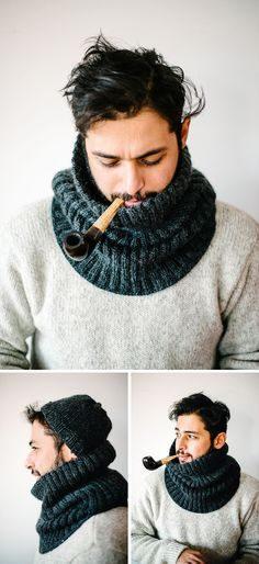 """Knitting Patterns Cowl """"mantastic"""" cowl, The Hemingway, made by Süsk & Banoo. Cowl pattern by the Purl Bee here www. Loom Knitting, Hand Knitting, Knitting Stitches, Finger Knitting, Diy Gifts For Men, Purl Bee, Knitting Projects, Knitting Tutorials, Knitting Patterns"""